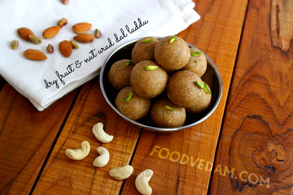Dry fruit and nut urad dal laddu