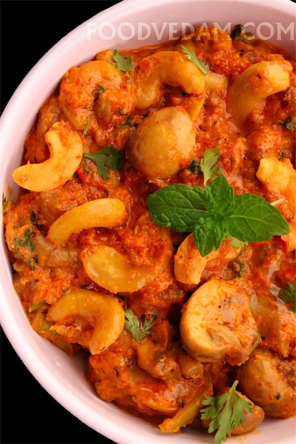 Kaju Mushroom masala curry