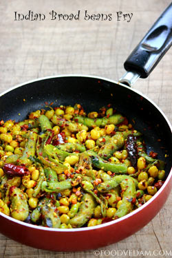 Broad beans fry -quick and easy chikkudukaya iguru recipe