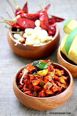 Mango pickle temporary-Mango chinna mukkala pachadi
