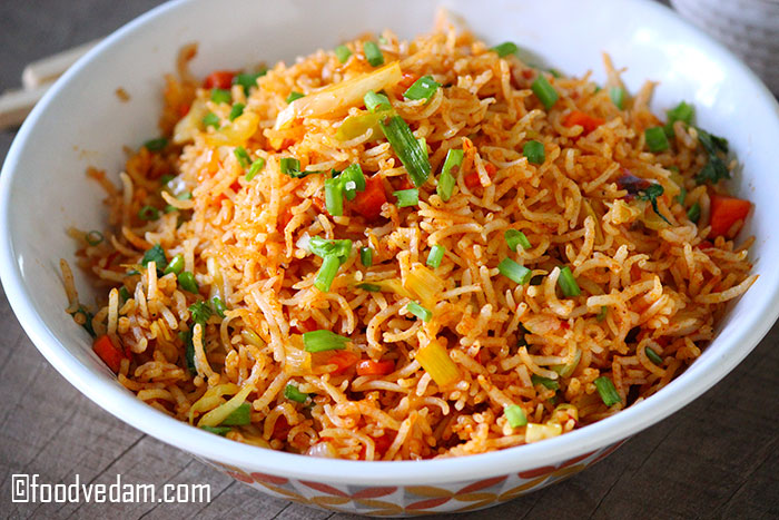 Schezwan fried rice recipe how to make schezwan rice foodvedam with a combination of vegetables and eggs or chicken or paneeryou can add the schezwan sauce according to your tasteis recipe should be served hot ccuart Gallery