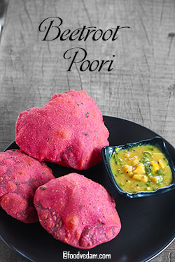Beetroot Poori Recipe-How to make Soft and Puffy Beetroot Pooris